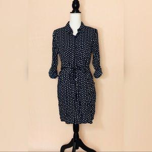 ModCloth • doe & rae Navy Polka Dot Shirt Dress L